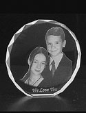 3d images laser engraved into 3d glass/crystal with size 7x7x7cm
